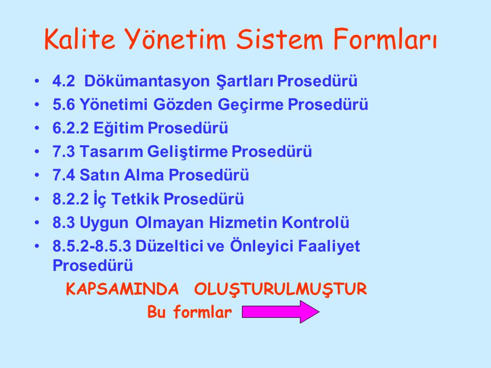 Kalite Yönetim Sistem Formları 4.2 Dökümantasyon Şartları Prosedürü 5.6 Yönetimi Gözden Geçirme Prosedürü 6.2.2 Eğitim Prosedürü 7.3 Tasarım Geliştirm