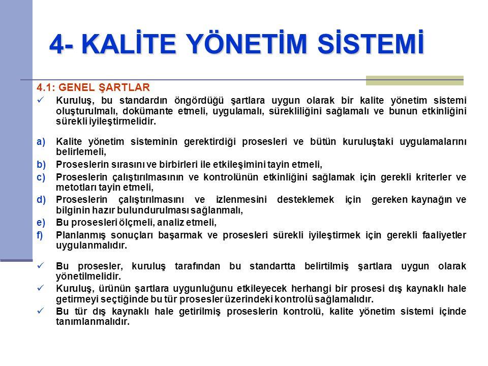 4- KALİTE YÖNETİM SİSTEMİ 4- KALİTE YÖNETİM SİSTEMİ 4.1: GENEL ŞARTLAR Kuruluş, bu standardın öngördüğü şartlara uygun olarak bir kalite yönetim siste