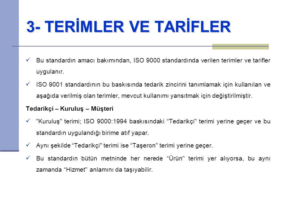 3- TERİMLER VE TARİFLER Bu standardın amacı bakımından, ISO 9000 standardında verilen terimler ve tarifler uygulanır. ISO 9001 standardının bu baskısı