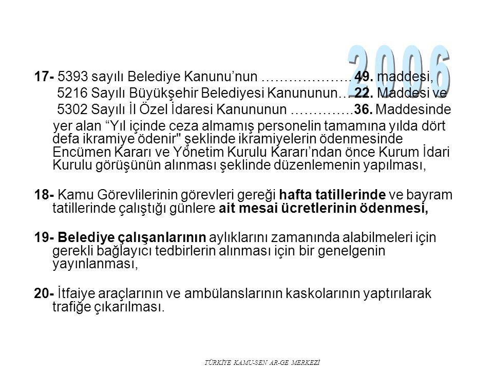 TÜRKİYE KAMU-SEN AR-GE MERKEZİ 17- 5393 sayılı Belediye Kanunu'nun ……………….. 49. maddesi, 5216 Sayılı Büyükşehir Belediyesi Kanununun… 22. Maddesi ve 5