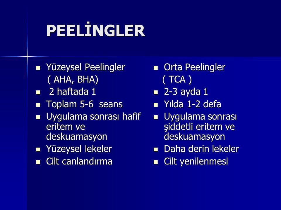 PEELİNGLER Yüzeysel Peelingler Yüzeysel Peelingler ( AHA, BHA) ( AHA, BHA) 2 haftada 1 2 haftada 1 Toplam 5-6 seans Toplam 5-6 seans Uygulama sonrası hafif eritem ve deskuamasyon Uygulama sonrası hafif eritem ve deskuamasyon Yüzeysel lekeler Yüzeysel lekeler Cilt canlandırma Cilt canlandırma Orta Peelingler Orta Peelingler ( TCA ) ( TCA ) 2-3 ayda 1 2-3 ayda 1 Yılda 1-2 defa Yılda 1-2 defa Uygulama sonrası şiddetli eritem ve deskuamasyon Uygulama sonrası şiddetli eritem ve deskuamasyon Daha derin lekeler Daha derin lekeler Cilt yenilenmesi Cilt yenilenmesi