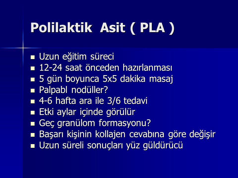 Polilaktik Asit ( PLA ) Uzun eğitim süreci Uzun eğitim süreci 12-24 saat önceden hazırlanması 12-24 saat önceden hazırlanması 5 gün boyunca 5x5 dakika