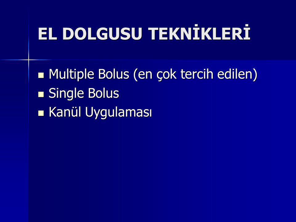 EL DOLGUSU TEKNİKLERİ Multiple Bolus (en çok tercih edilen) Multiple Bolus (en çok tercih edilen) Single Bolus Single Bolus Kanül Uygulaması Kanül Uygulaması