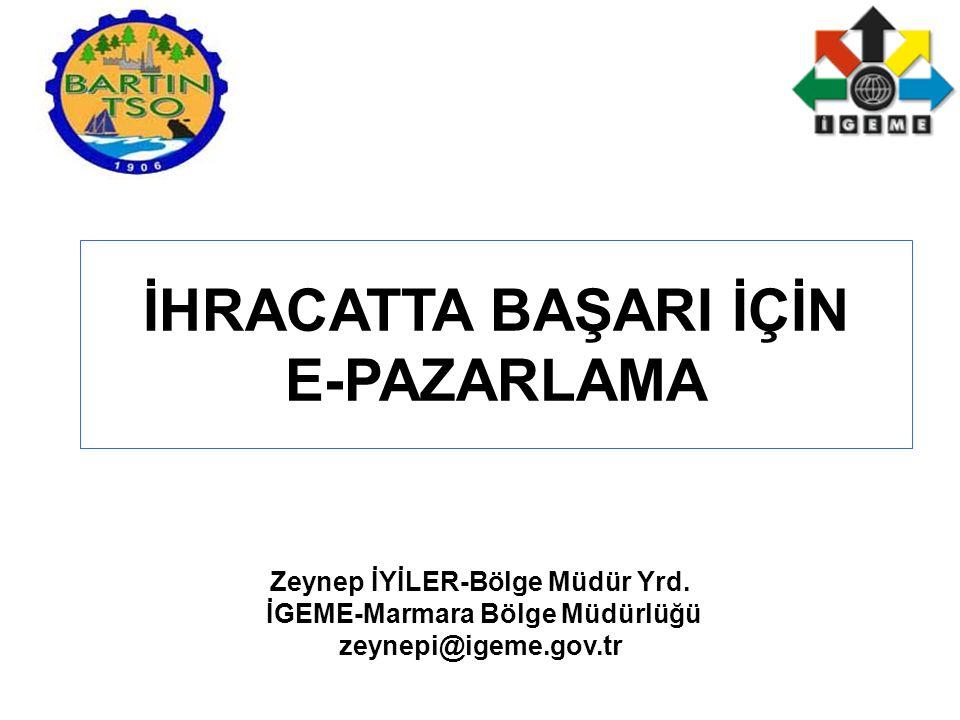 İHRACATTA BAŞARI İÇİN E-PAZARLAMA Zeynep İYİLER-Bölge Müdür Yrd.