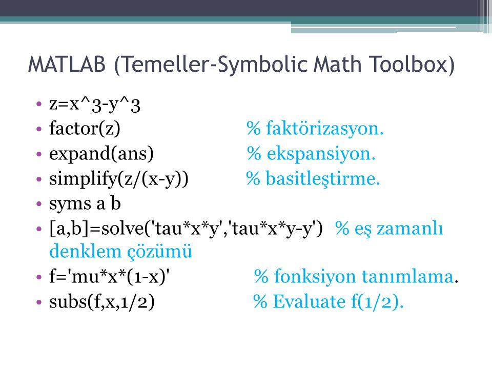 MATLAB (Temeller-Symbolic Math Toolbox) z=x^3-y^3 factor(z) % faktörizasyon. expand(ans) % ekspansiyon. simplify(z/(x-y)) % basitleştirme. syms a b [a