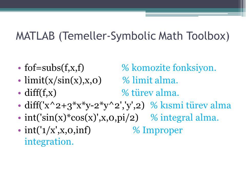 MATLAB (Çizim-Diferansiyel Denklemler) % Numerical solutions to o.d.e s.