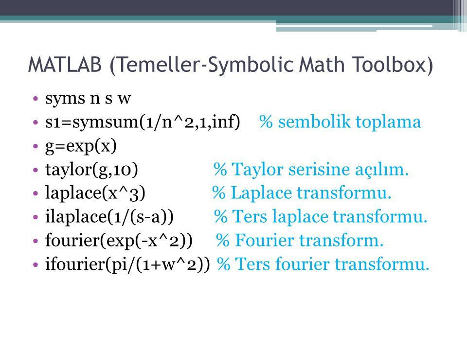 MATLAB (Temeller-Symbolic Math Toolbox) syms n s w s1=symsum(1/n^2,1,inf) % sembolik toplama g=exp(x) taylor(g,10) % Taylor serisine açılım. laplace(x