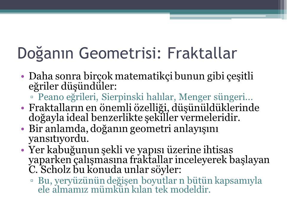 Doğanın Geometrisi: Fraktallar Daha sonra birçok matematikçi bunun gibi çeşitli eğriler düşündüler: ▫Peano eğrileri, Sierpinski halılar, Menger sünger
