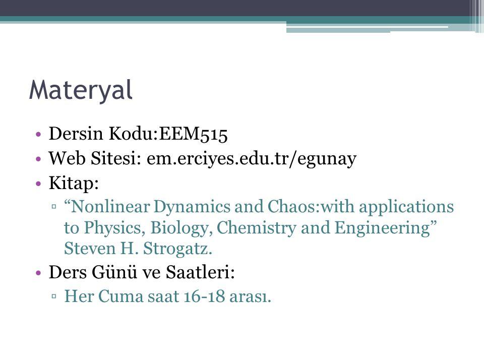 "Materyal Dersin Kodu:EEM515 Web Sitesi: em.erciyes.edu.tr/egunay Kitap: ▫""Nonlinear Dynamics and Chaos:with applications to Physics, Biology, Chemistr"