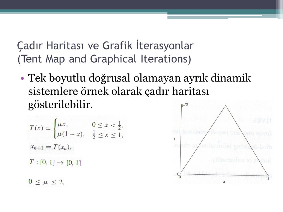 Çadır Haritası ve Grafik İterasyonlar (Tent Map and Graphical Iterations) Tek boyutlu doğrusal olamayan ayrık dinamik sistemlere örnek olarak çadır ha