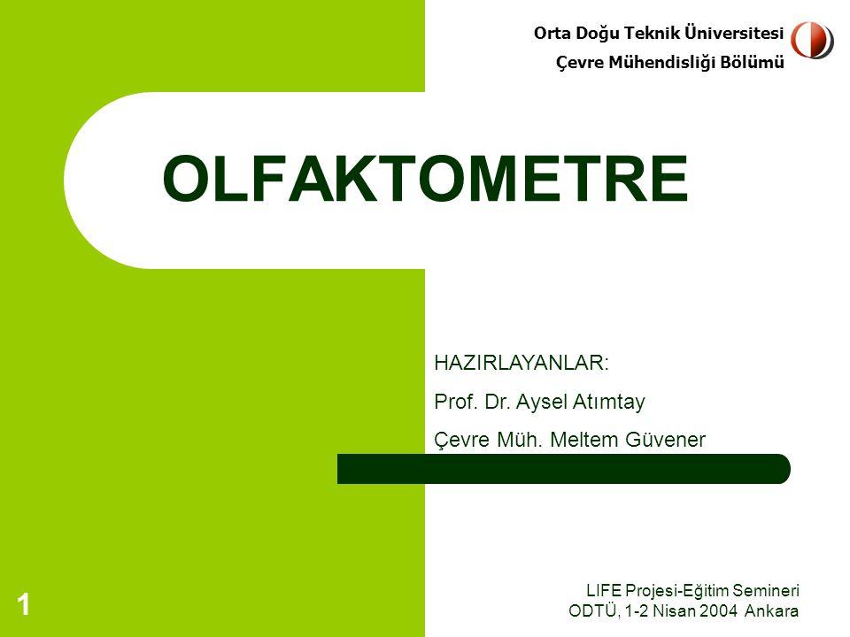 LIFE Projesi-Eğitim Semineri ODTÜ, 1-2 Nisan 2004 AnkaraLIFE Projesi-Eğitim Semineri ODTÜ, 1-2 Nisan 2004 Ankara 12 Alınan örneğin 24 saat içinde olfaktometre ile ölçümü yapılmalıdır.