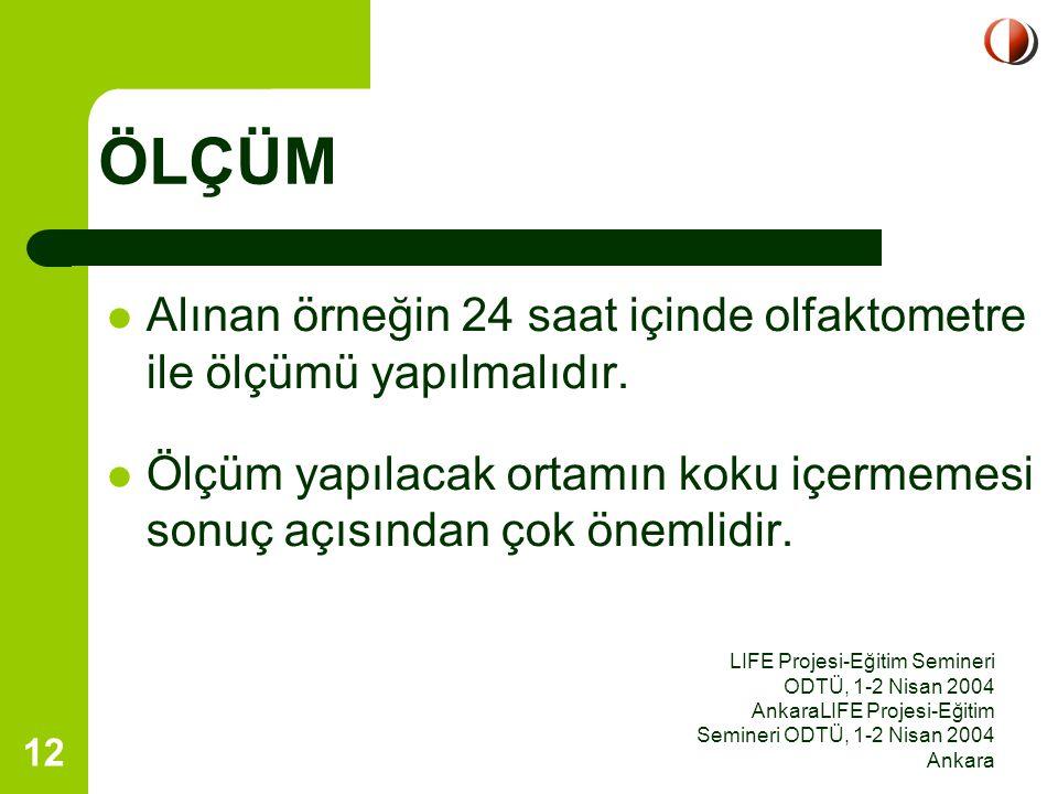 LIFE Projesi-Eğitim Semineri ODTÜ, 1-2 Nisan 2004 AnkaraLIFE Projesi-Eğitim Semineri ODTÜ, 1-2 Nisan 2004 Ankara 12 Alınan örneğin 24 saat içinde olfa