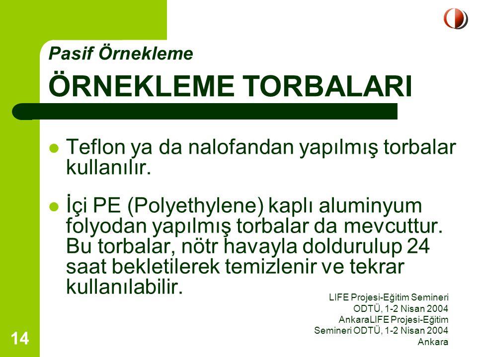 LIFE Projesi-Eğitim Semineri ODTÜ, 1-2 Nisan 2004 AnkaraLIFE Projesi-Eğitim Semineri ODTÜ, 1-2 Nisan 2004 Ankara 14 Teflon ya da nalofandan yapılmış t