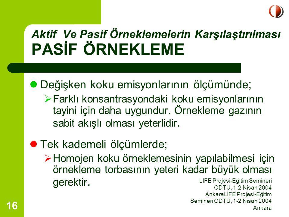LIFE Projesi-Eğitim Semineri ODTÜ, 1-2 Nisan 2004 AnkaraLIFE Projesi-Eğitim Semineri ODTÜ, 1-2 Nisan 2004 Ankara 16 Değişken koku emisyonlarının ölçüm