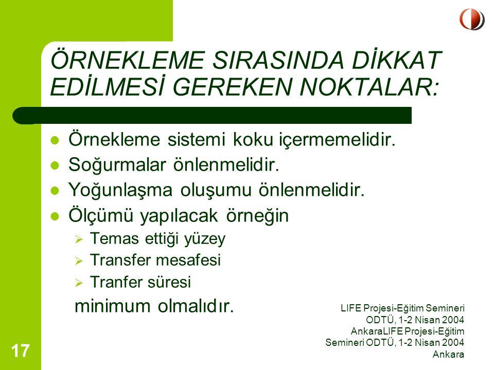 LIFE Projesi-Eğitim Semineri ODTÜ, 1-2 Nisan 2004 AnkaraLIFE Projesi-Eğitim Semineri ODTÜ, 1-2 Nisan 2004 Ankara 17 ÖRNEKLEME SIRASINDA DİKKAT EDİLMES
