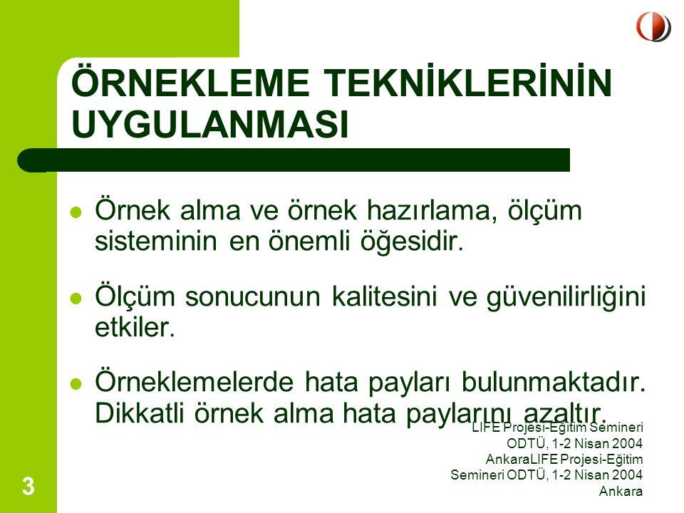 LIFE Projesi-Eğitim Semineri ODTÜ, 1-2 Nisan 2004 AnkaraLIFE Projesi-Eğitim Semineri ODTÜ, 1-2 Nisan 2004 Ankara 14 Teflon ya da nalofandan yapılmış torbalar kullanılır.