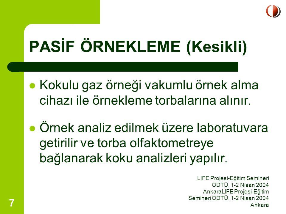 LIFE Projesi-Eğitim Semineri ODTÜ, 1-2 Nisan 2004 AnkaraLIFE Projesi-Eğitim Semineri ODTÜ, 1-2 Nisan 2004 Ankara 8 Pasif Örnekleme a) BACA GAZI 1.