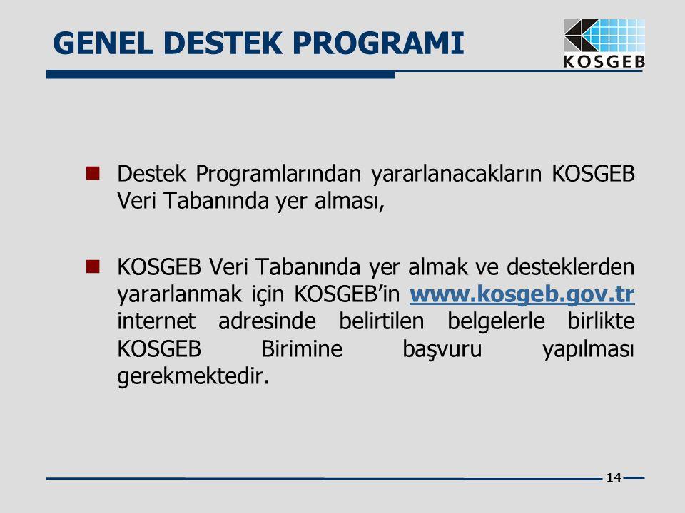14 Destek Programlarından yararlanacakların KOSGEB Veri Tabanında yer alması, KOSGEB Veri Tabanında yer almak ve desteklerden yararlanmak için KOSGEB'