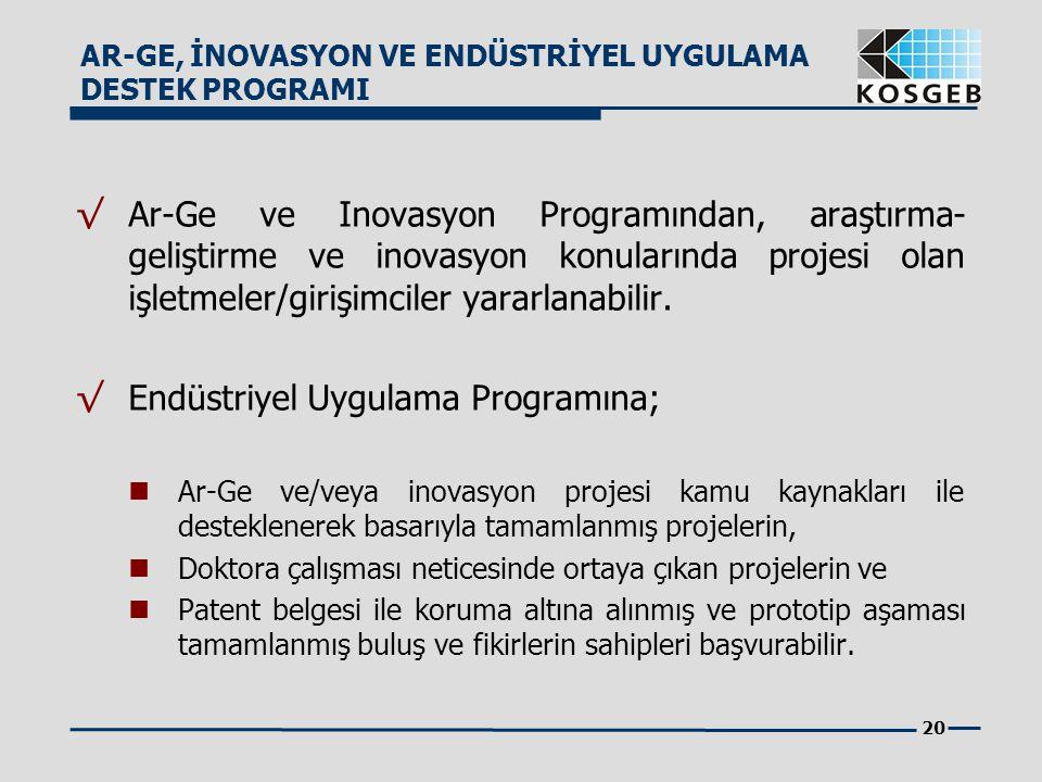 20 √ Ar-Ge ve Inovasyon Programından, araştırma- geliştirme ve inovasyon konularında projesi olan işletmeler/girişimciler yararlanabilir. √ Endüstriye