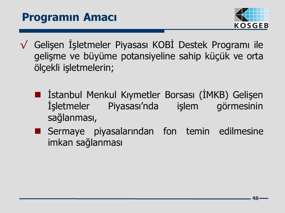 48 √ Gelişen İşletmeler Piyasası KOBİ Destek Programı ile gelişme ve büyüme potansiyeline sahip küçük ve orta ölçekli işletmelerin; İstanbul Menkul Kı