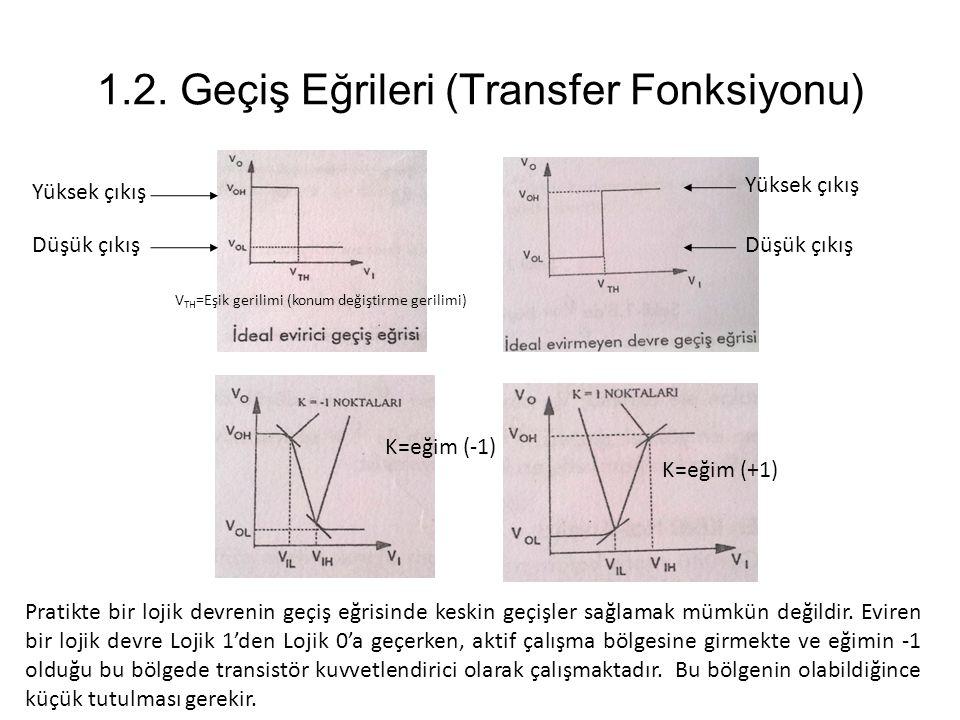 1.2. Geçiş Eğrileri (Transfer Fonksiyonu) Yüksek çıkış Düşük çıkış Yüksek çıkış Düşük çıkış Pratikte bir lojik devrenin geçiş eğrisinde keskin geçişle