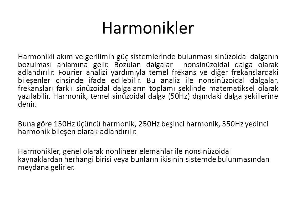 Harmonikler Harmonikli akım ve gerilimin güç sistemlerinde bulunması sinüzoidal dalganın bozulması anlamına gelir. Bozulan dalgalar nonsinüzoidal dalg