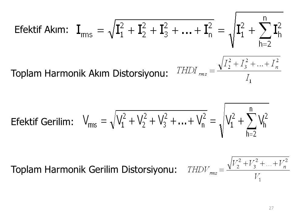 27 Efektif Akım: Toplam Harmonik Akım Distorsiyonu: Toplam Harmonik Gerilim Distorsiyonu: Efektif Gerilim: