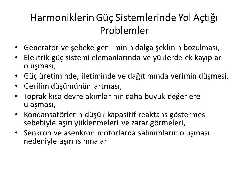 Harmoniklerin Güç Sistemlerinde Yol Açtığı Problemler Generatör ve şebeke geriliminin dalga şeklinin bozulması, Elektrik güç sistemi elemanlarında ve