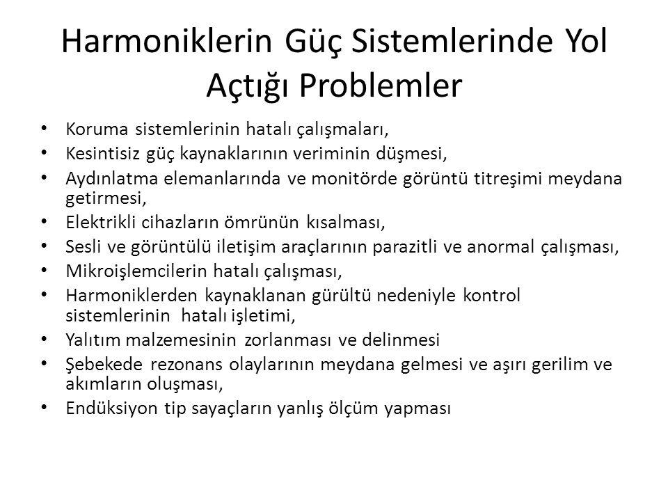 Harmoniklerin Güç Sistemlerinde Yol Açtığı Problemler Koruma sistemlerinin hatalı çalışmaları, Kesintisiz güç kaynaklarının veriminin düşmesi, Aydınla