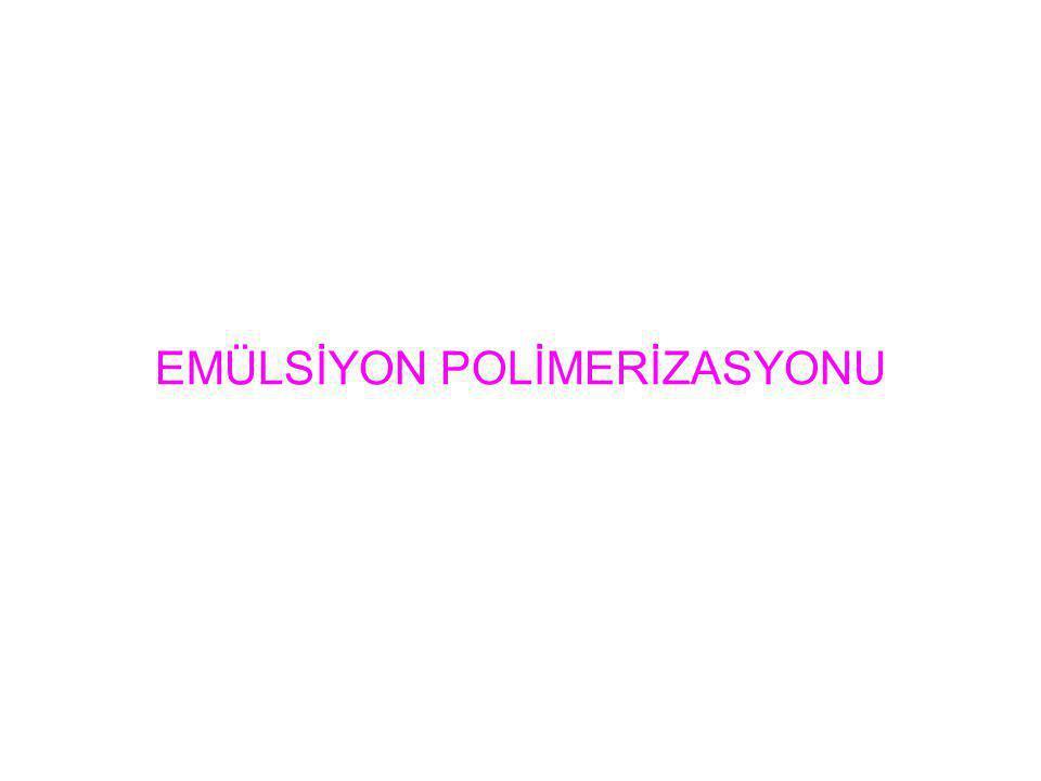 Emülsiyon polimerizasyonu radikal zincir polimerizasyonları için önemli bir yöntem sağlar.Bunun için, suda çözünmeyen bir monomerin önce emülsiyon halinde dağılması gerekir.Bu tür polimerizasyonun, süspansiyon polimerizasyonundan farklı olarak dağılan monomer taneciklerinin çok daha küçük olması, polimerizasyon mekanizmasının da büsbütün değişik olmasıdır.