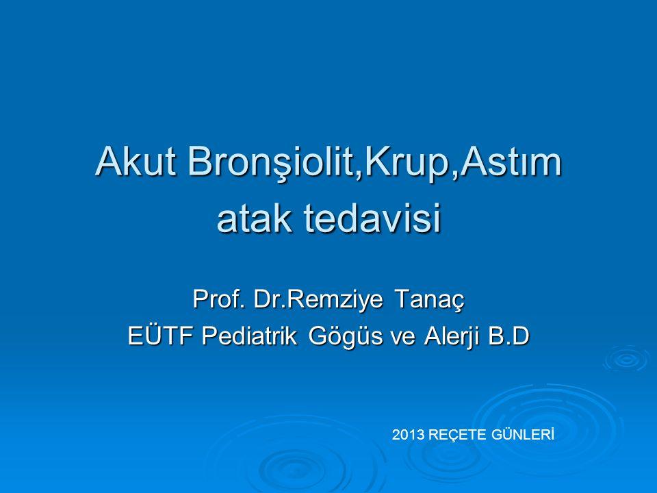 Akut Bronşiolit,Krup,Astım atak tedavisi Prof. Dr.Remziye Tanaç EÜTF Pediatrik Gögüs ve Alerji B.D 2013 REÇETE GÜNLERİ
