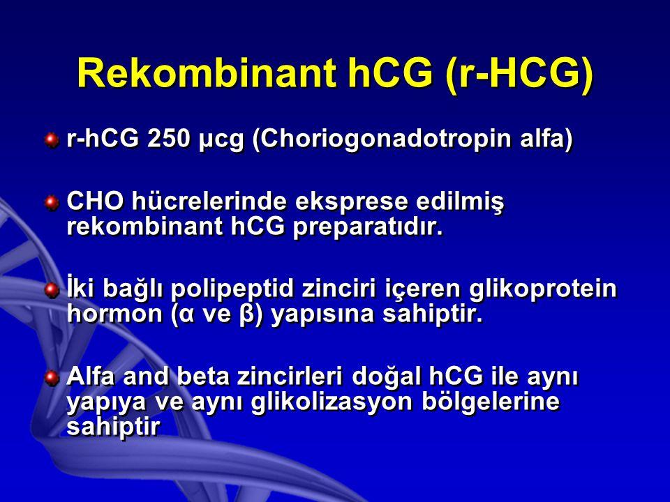 r-hCG 250 μcg (Choriogonadotropin alfa) CHO hücrelerinde eksprese edilmiş rekombinant hCG preparatıdır.