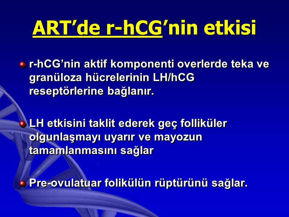 ART'de r-hCG'nin etkisi r-hCG'nin aktif komponenti overlerde teka ve granüloza hücrelerinin LH/hCG reseptörlerine bağlanır.