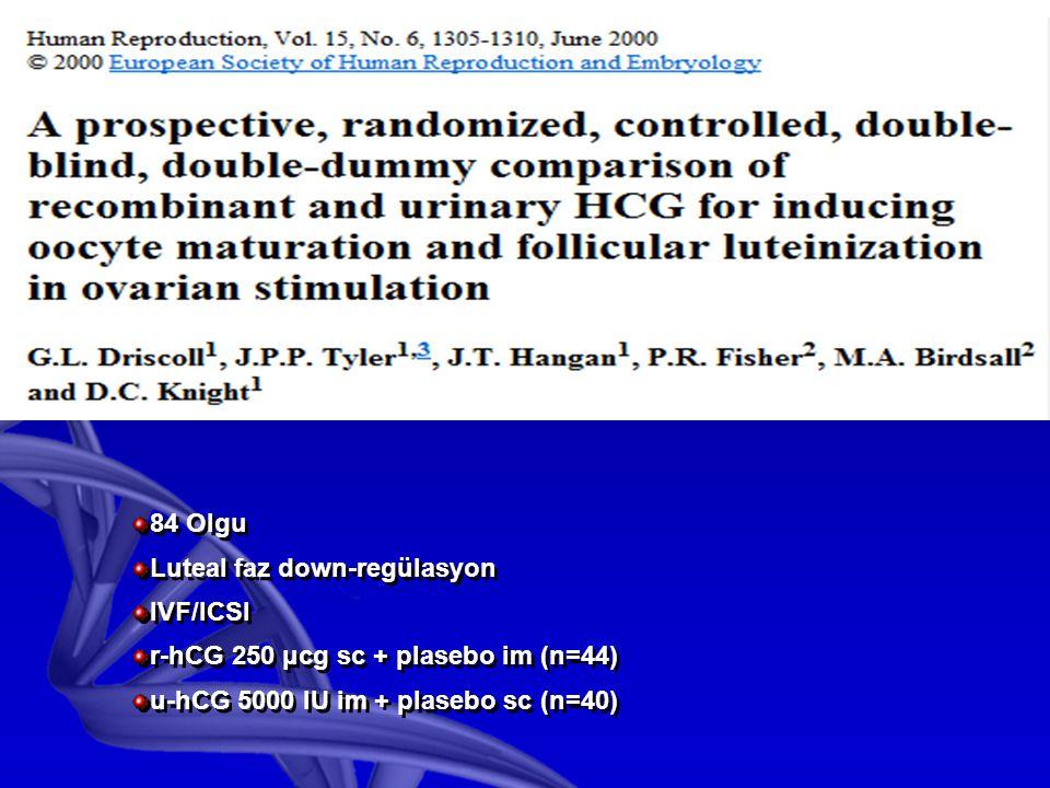 84 Olgu Luteal faz down-regülasyon IVF/ICSI r-hCG 250 μcg sc + plasebo im (n=44) u-hCG 5000 IU im + plasebo sc (n=40) 84 Olgu Luteal faz down-regülasyon IVF/ICSI r-hCG 250 μcg sc + plasebo im (n=44) u-hCG 5000 IU im + plasebo sc (n=40)