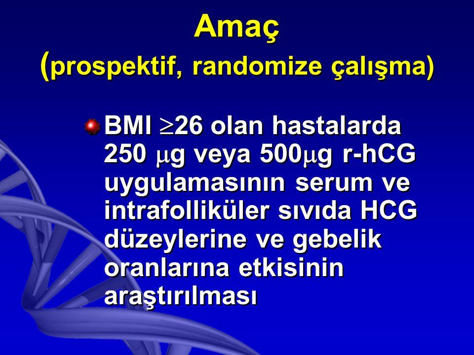 Amaç ( prospektif, randomize çalışma) BMI  26 olan hastalarda 250  g veya 500  g r-hCG uygulamasının serum ve intrafolliküler sıvıda HCG düzeylerine ve gebelik oranlarına etkisinin araştırılması