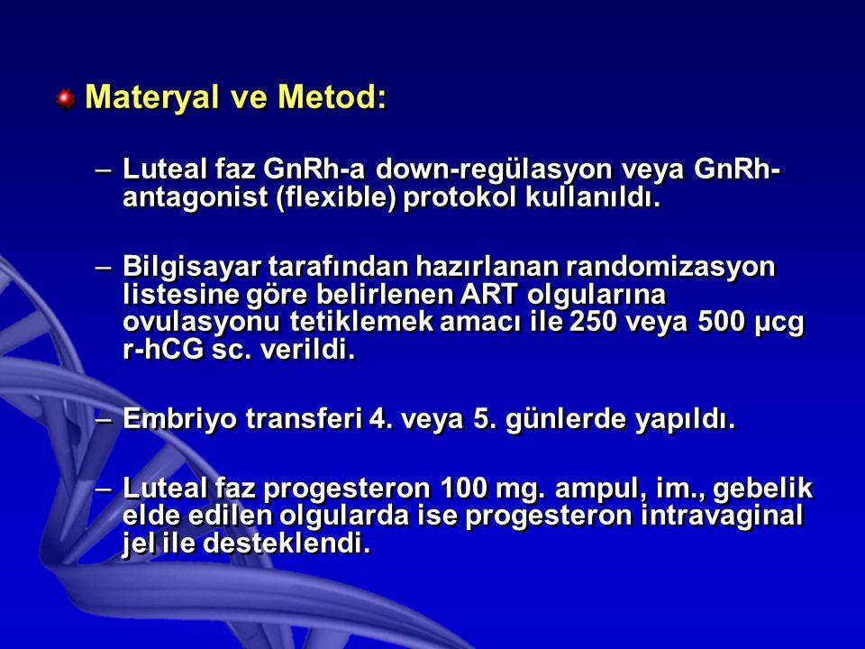Materyal ve Metod: –Luteal faz GnRh-a down-regülasyon veya GnRh- antagonist (flexible) protokol kullanıldı.