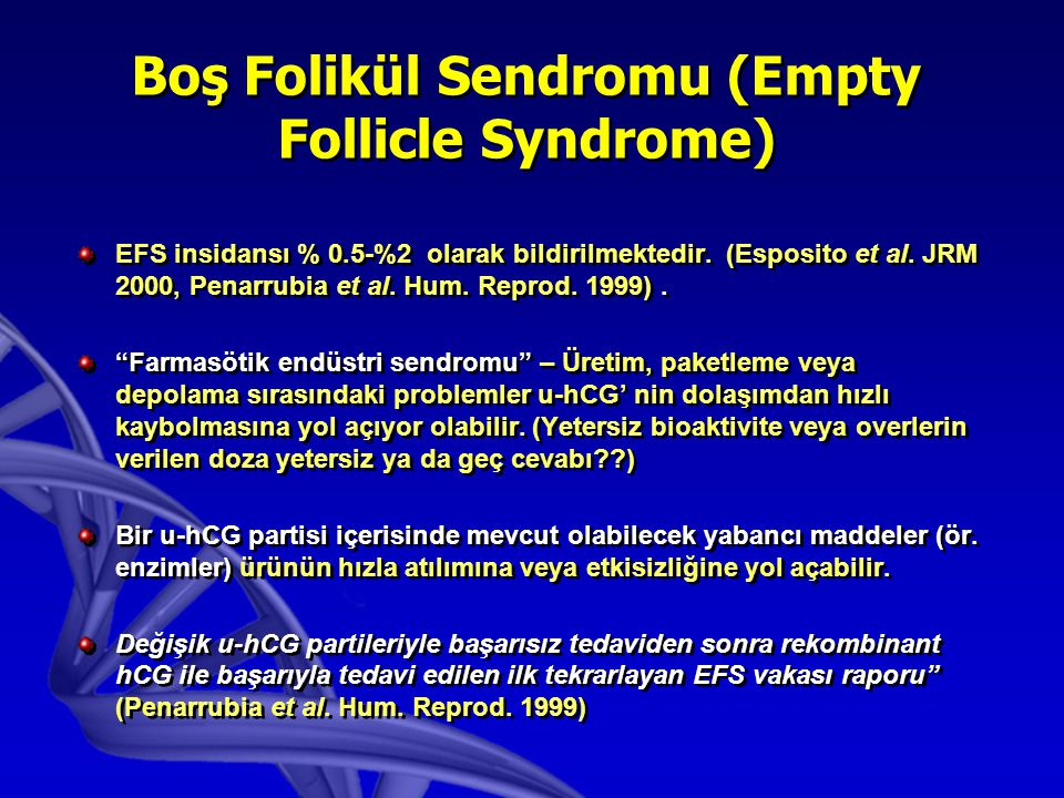 Empty Follicle Syndrome The empty follicle syndrome (Coulam et al., 1986) is characterised by the lack of retrieved oocytes from follicles after ovulation induction and apperently normal follicular development for IVF.