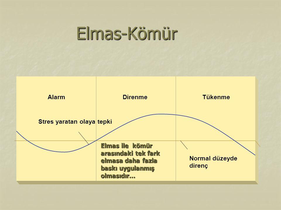 Elmas-Kömür Normal düzeyde direnç Stres yaratan olaya tepki Alarm Direnme Tükenme Elmas ile kömür arasındaki tek fark elmasa daha fazla baskı uygulanm