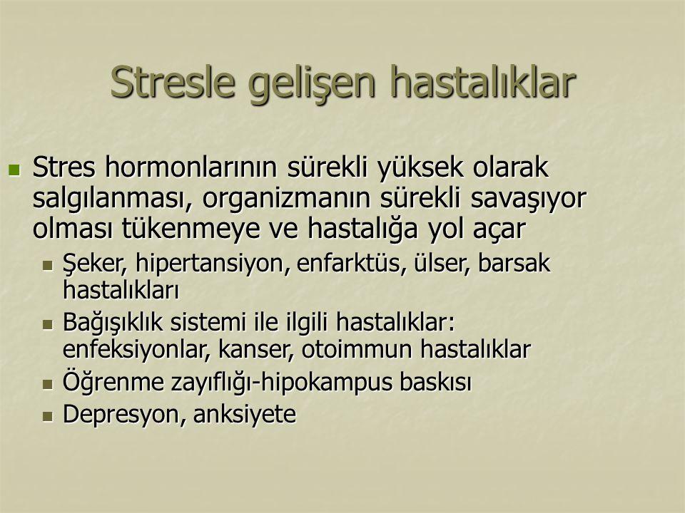 Stres hormonlarının sürekli yüksek olarak salgılanması, organizmanın sürekli savaşıyor olması tükenmeye ve hastalığa yol açar Stres hormonlarının süre