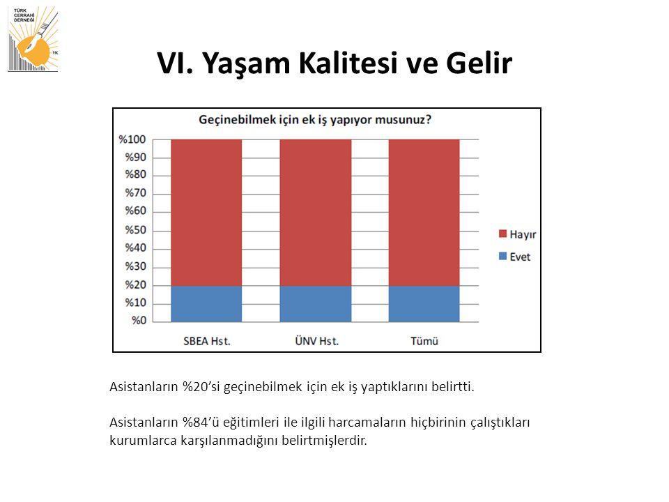 VI.Yaşam Kalitesi ve Gelir Asistanların %20'si geçinebilmek için ek iş yaptıklarını belirtti.