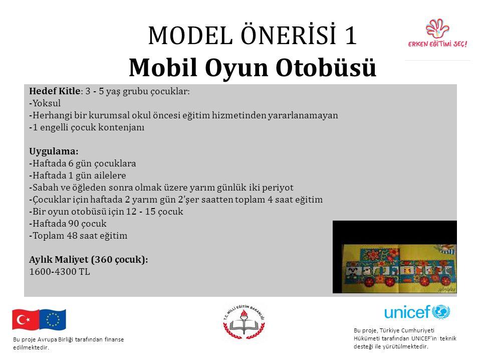 MODEL ÖNERİSİ 1 Mobil Oyun Otobüsü Hedef Kitle: 3 - 5 yaş grubu çocuklar: -Yoksul -Herhangi bir kurumsal okul öncesi eğitim hizmetinden yararlanamayan -1 engelli çocuk kontenjanı Uygulama: -Haftada 6 gün çocuklara -Haftada 1 gün ailelere -Sabah ve öğleden sonra olmak üzere yarım günlük iki periyot -Çocuklar için haftada 2 yarım gün 2'şer saatten toplam 4 saat eğitim -Bir oyun otobüsü için 12 - 15 çocuk -Haftada 90 çocuk -Toplam 48 saat eğitim Aylık Maliyet (360 çocuk): 1600-4300 TL Bu proje, Türkiye Cumhuriyeti Hükümeti tarafından UNICEF'in teknik desteği ile yürütülmektedir.