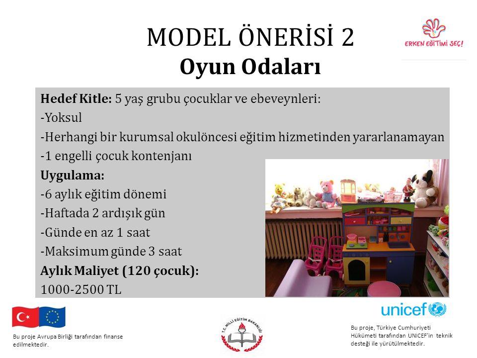 MODEL ÖNERİSİ 2 Oyun Odaları Hedef Kitle: 5 yaş grubu çocuklar ve ebeveynleri: -Yoksul -Herhangi bir kurumsal okulöncesi eğitim hizmetinden yararlanamayan -1 engelli çocuk kontenjanı Uygulama: -6 aylık eğitim dönemi -Haftada 2 ardışık gün -Günde en az 1 saat -Maksimum günde 3 saat Aylık Maliyet (120 çocuk): 1000-2500 TL Bu proje, Türkiye Cumhuriyeti Hükümeti tarafından UNICEF'in teknik desteği ile yürütülmektedir.