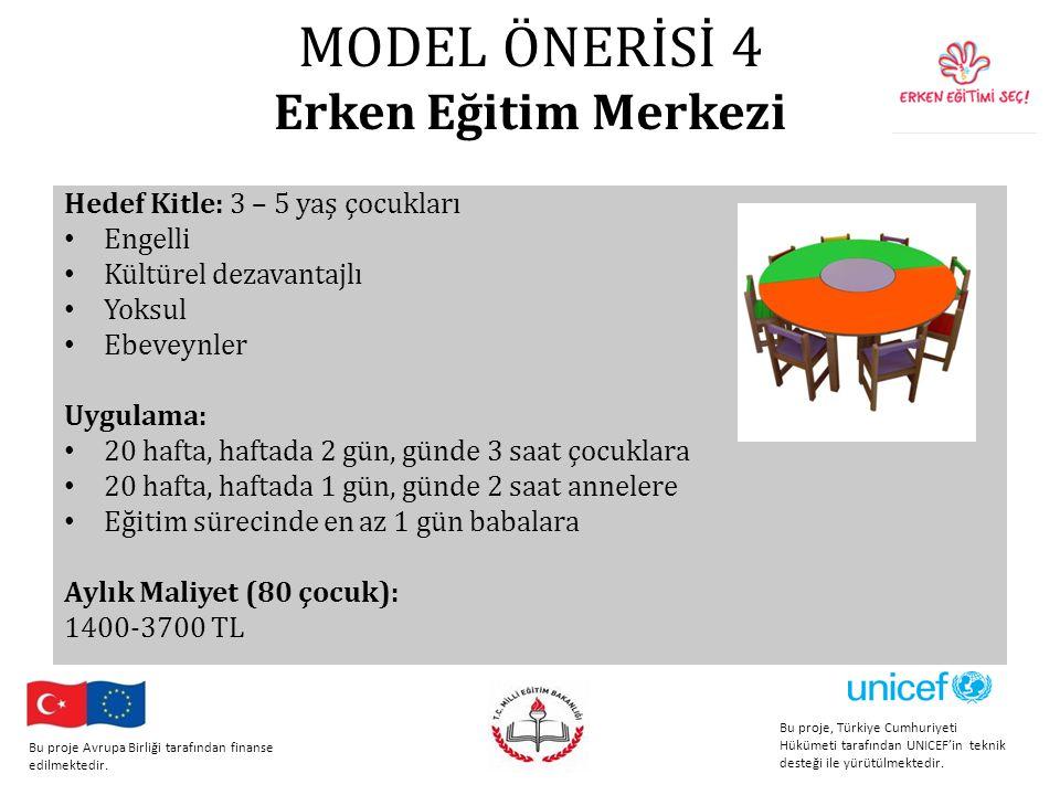 MODEL ÖNERİSİ 4 Erken Eğitim Merkezi Hedef Kitle: 3 – 5 yaş çocukları Engelli Kültürel dezavantajlı Yoksul Ebeveynler Uygulama: 20 hafta, haftada 2 gün, günde 3 saat çocuklara 20 hafta, haftada 1 gün, günde 2 saat annelere Eğitim sürecinde en az 1 gün babalara Aylık Maliyet (80 çocuk): 1400-3700 TL Bu proje, Türkiye Cumhuriyeti Hükümeti tarafından UNICEF'in teknik desteği ile yürütülmektedir.