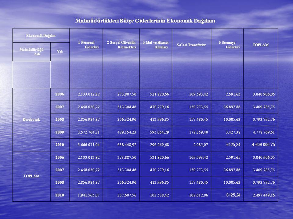Malmüdürlükleri Bütçe Giderlerinin Ekonomik Dağılımı Ekonomik Dağılım 1-Personel Giderleri 2-Sosyal Güvenlik Kesenekleri 3-Mal ve Hizmet Alımları 5-Ca