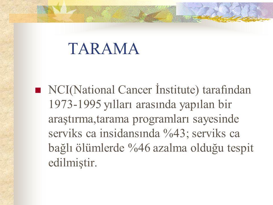 TARAMA NCI(National Cancer İnstitute) tarafından 1973-1995 yılları arasında yapılan bir araştırma,tarama programları sayesinde serviks ca insidansında
