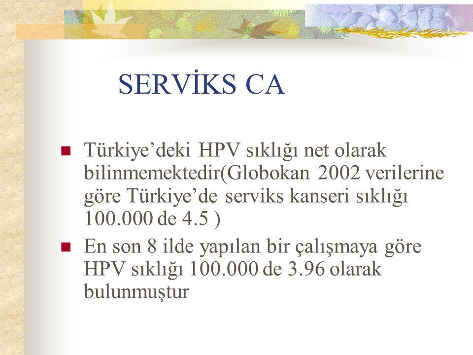 SERVİKS CA Türkiye'deki HPV sıklığı net olarak bilinmemektedir(Globokan 2002 verilerine göre Türkiye'de serviks kanseri sıklığı 100.000 de 4.5 ) En so