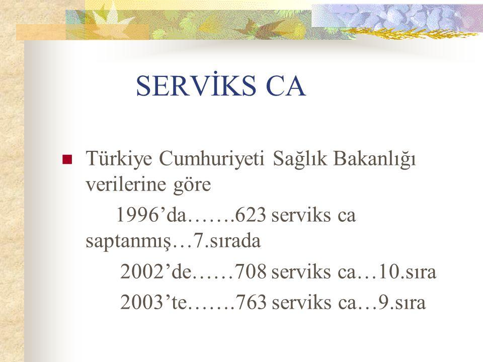 SERVİKS CA Türkiye Cumhuriyeti Sağlık Bakanlığı verilerine göre 1996'da…….623 serviks ca saptanmış…7.sırada 2002'de……708 serviks ca…10.sıra 2003'te…….