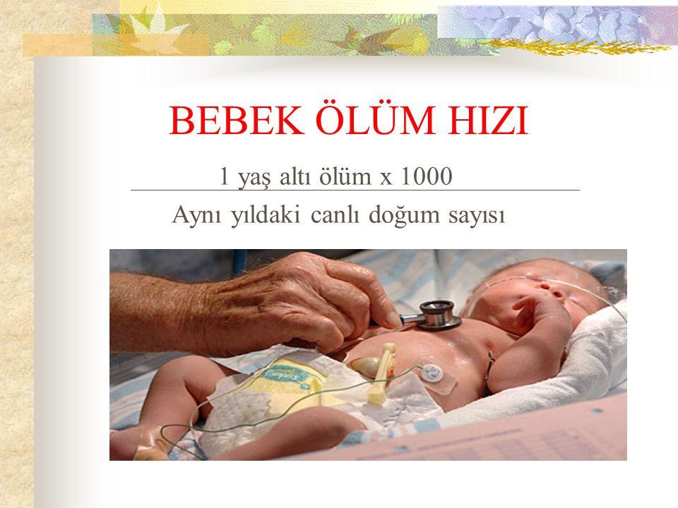 BEBEK ÖLÜM HIZI 1 yaş altı ölüm x 1000 Aynı yıldaki canlı doğum sayısı