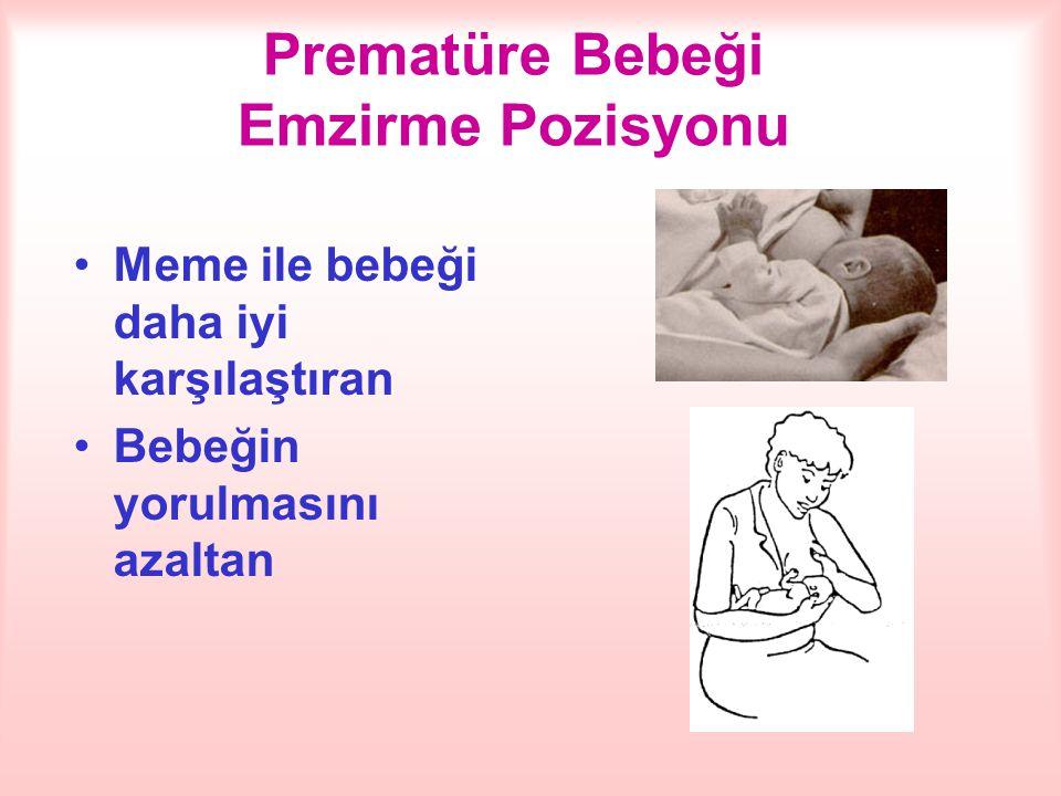 Prematüre Bebeği Emzirme Pozisyonu Meme ile bebeği daha iyi karşılaştıran Bebeğin yorulmasını azaltan