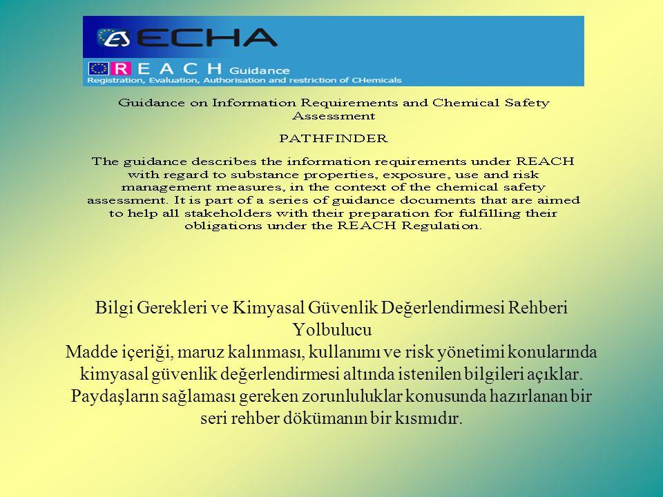 Bilgi Gerekleri ve Kimyasal Güvenlik Değerlendirmesi Rehberi Yolbulucu Madde içeriği, maruz kalınması, kullanımı ve risk yönetimi konularında kimyasal